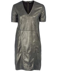 Day Birger Et Mikkelsen Gold Logan Vneck Metallic Leather Dress - Lyst