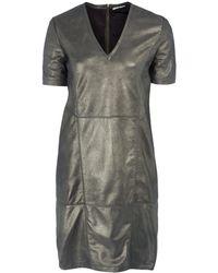 Day Birger Et Mikkelsen Gold Logan Vneck Metallic Leather Dress - Lyst