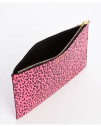 Saint Laurent Pink and Black Babycat Printed Leather Cosmetic Case - Lyst