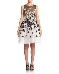 Oscar de la Renta Floral Embroidered Lace Dress - Lyst