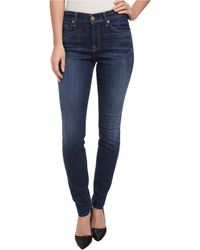 7 For All Mankind Mid Rise Skinny in Lovely Medium Blue - Lyst