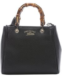 Gucci Black Leather Mini Bamboo Top Handle Bag - Lyst