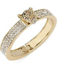 Betsey Johnson Goldtone Leopard Crystal Pavé Bangle Bracelet - Lyst