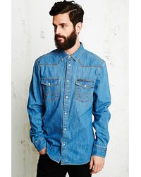 Wrangler Classic Denim Shirt in Blue - Lyst