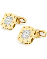 Roberto Coin - Pois Moi 18K Yellow Gold Square Diamond Cuff Links - Lyst