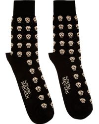 Alexander McQueen Black and Beige Skull Socks - Lyst