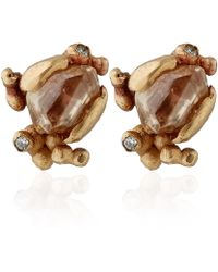 Ruth Tomlinson - Gold Champagne Diamond Stud Earrings - Lyst
