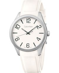 Calvin Klein Mens Swiss White Silicone Strap Watch 40mm K5e511k2 - Lyst