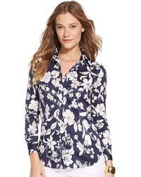 Lauren by Ralph Lauren Floral Patterned Sateen Shirt - Lyst