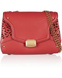 Nina Ricci Lasercut Leather and Suede Shoulder Bag - Lyst