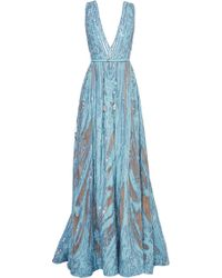 Elie Saab Embroidered Light Blue Double Silk Georgette Gown - Lyst