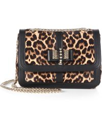 Christian Louboutin Leopard-Print Calf Hair Sweet Charity Bag - Lyst