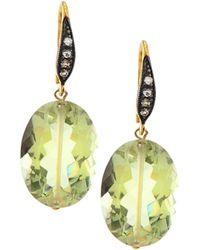 Margo Morrison - Green Amethyst & White Sapphire Drop Earrings - Lyst