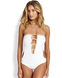 ViX One-Piece Solid Deep-V Swimsuit - Lyst