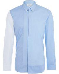 Maison Margiela Blue Multi Panel Button-Down Shirt - Lyst