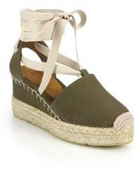 Ralph Lauren Collection Uma Canvas Espadrille Wedge Sandals green - Lyst
