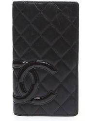 Chanel Pre-Owned Black Lambsin Cambon Ligne Wallet - Lyst