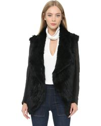 June - Fur Jacket With Leather Sleeves - Black - Lyst