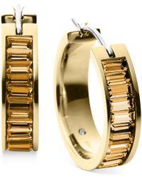 Michael Kors Gold-tone Crystal Baguette Small Hoop Earrings - Lyst