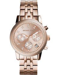 Michael Kors Ladies Ritz Rose Gold Tone Chronograph Watch - Lyst