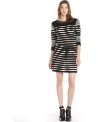 Rachel Zoe Black and White Striped Knit Drawstring Tommy Sweater Dress - Lyst