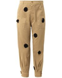 Band Of Outsiders Loz Floral Appliqué Chinos - Lyst
