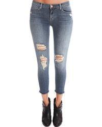 J Brand Mid Rise Cropped Skinny Jean blue - Lyst