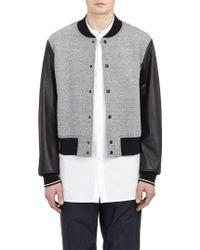 Rag & Bone Leather-Sleeve Varsity Jacket - Lyst