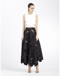 Cynthia Rowley Oversized Floral Lace Midi Skirt - Lyst