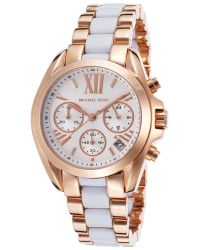 Michael Kors Women'S Bradshaw Chronograph Rose-Tone Steel White Acetate - Lyst