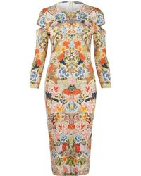 Alexander McQueen Multicolour Long Sleeve Printed Jersey Dress - Lyst