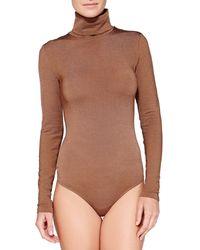 Wolford Colorado String Long Sleeve Turtleneck Bodysuit - Lyst