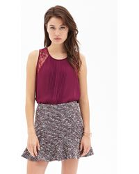 Forever 21 Pintucked Lace Top - Lyst