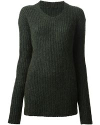 Haider Ackermann Ribbed Crew Neck Sweater - Lyst