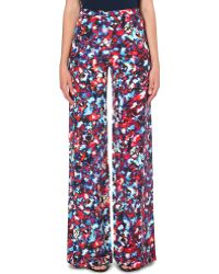 Saloni Wideleg Silk Trousers Cosmic Pansey - Lyst