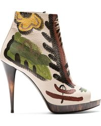 Burberry Prorsum Beige Leather Hand Painted Ankle Boots - Lyst