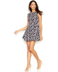 French Connection Cap-Sleeve Boat-Neck Printed Dress - Lyst