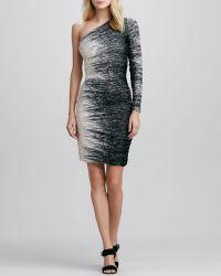 Halston Heritage Windlines Onesleeve Ruched Dress - Lyst