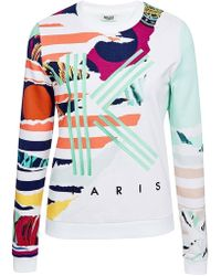 Kenzo Printed And Embroidered Cotton Sweatshirt multicolor - Lyst