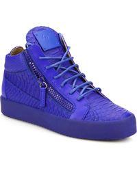 Giuseppe Zanotti | Embossed Leather Double-zip Sneakers | Lyst