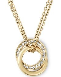 Michael Kors Goldtone Crystal Pavè Interlocked Ring Pendant Necklace - Lyst