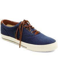 Polo Ralph Lauren Vaughn Flax Linen And Suede Lace-Up Sneakers - Lyst