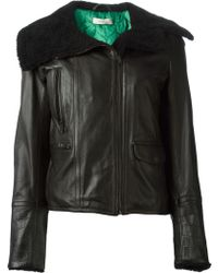 Paul Smith Shearling Collar Biker Jacket - Lyst