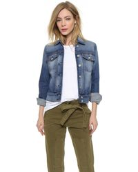 7 For All Mankind Classic Distressed Denim Jacket - Distressed Authentic Light 3 - Lyst