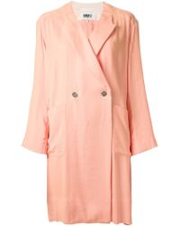 MM6 by Maison Martin Margiela Loose Fit Double Breasted Coat - Lyst