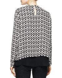 Etro Long-Sleeve Inverted Geo-Print Blouse With Solid Center - Lyst