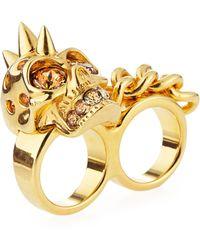 Alexander McQueen Skull Chain Twofinger Ring - Lyst