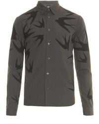 McQ by Alexander McQueen Swallow-Print Cotton Shirt - Lyst