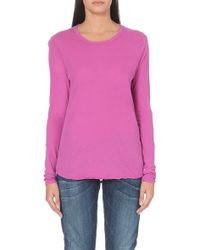 James Perse Cotton Long-sleeved Top Pandora - Lyst