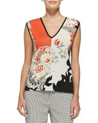 Etro Sleeveless Floral Colorblock Top - Lyst